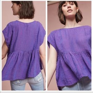 Anthro Holding Horses Purple Linen Peplum Tyra Top